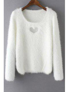Heart Hollow Out Long Sleeve Jumper - White