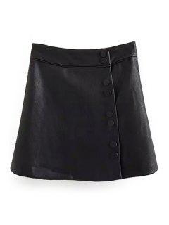 Falda De Cuero Negro De Una Falda De Línea - Negro L