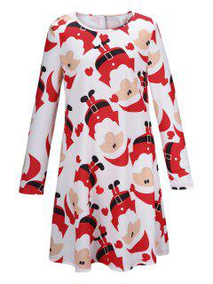 Santa Claus Print Fit And Flare Dress - White M