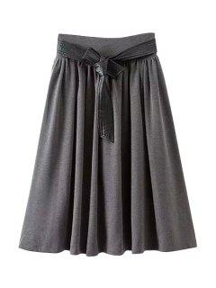 Solid Color PU Leather Belt A Line Skirt - Gray M