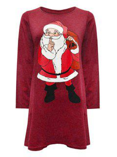 Round Neck Santa Claus Print Dress - Claret S