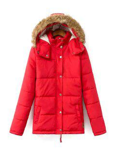 Solid Color Hooded Long Sleeves Padded Coat - Red L