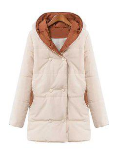 Hooded Sweater Spliced Long Sleeves Padded Coat - Off-white M