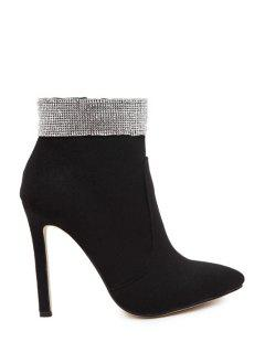 Solid Color Rhinestone Pointed Toe Ankle Boots - Black 37