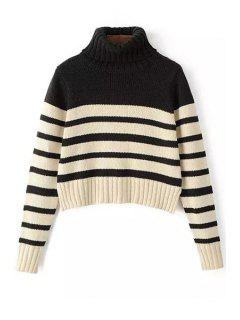 Turtleneck Long Sleeve Striped Jumper - White And Black S