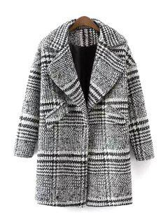 Checked Turn Down Collar Long Sleeves Woolen Coat - White And Black S