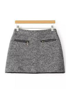 Packet Buttocks Gray Tweed Skirt - Gray L