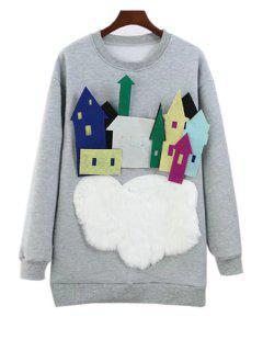 Round Neck Long Sleeve Flocking Sweatshirt - Gray L