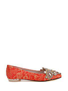 Satin Rhinestone Pointed Toe Flat Shoes - Red 39