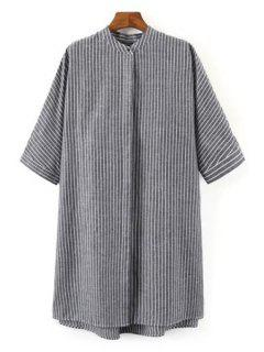 Striped Print Stand Collar Half Sleeves Shirt - Gray M