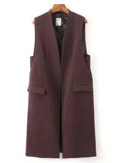 Solid Color Pockets Long Waistcoat - Wine Red L