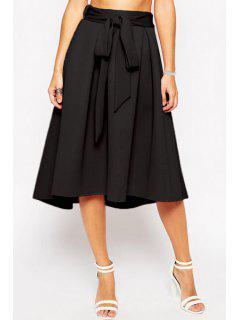 Bowknot Embellished Midi Skirt - Black S