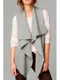 Solid Color Turtle Neck Cotton Blend Cardigan Waistcoat - Gray M