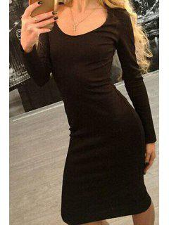 Low Back Lace-Up Bodycon Dress - Black Xl