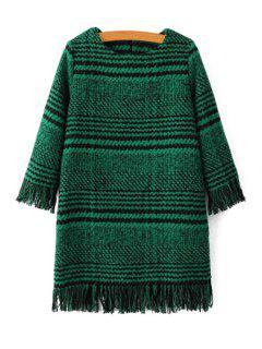 Houndstooth Jewel Neck 3/4 Sleeve Dress - Green S
