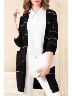 Striped Thin 3/4 Sleeves Cardigan - Black