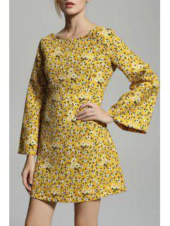 Tiny Floral Scoop Neck Flare Sleeve Dress - Yellow S