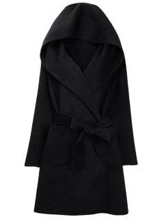 Hooded Self-Tie Belt Two Pockets Coat - Black 2xl