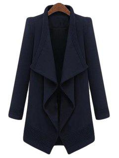 Large Lapel Irregular Hem Coat - Purplish Blue
