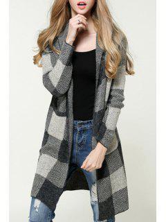 Checked Hooded Long Sleeves Pockets Long Cardigan - Gray