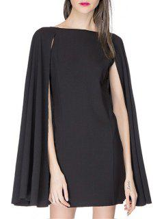 Boat Neck Cape Design Black Dress - Black Xs
