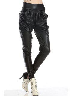 Narrow Feet PU Leather Harem Pants - Black 2xl