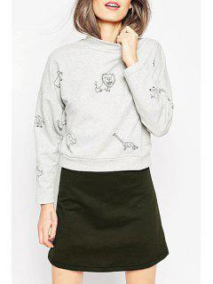 Jewel Neck Cartoon Print Sweatshirt - Light Gray 2xl