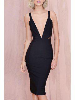 Plunging Neck Backless Mesh Panel Club Dress - Black 2xl