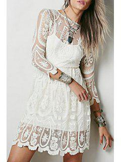 See-Through Lace 3/4 Sleeves Dress - Off-white L