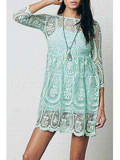 See-Through Lace 3/4 Sleeves Dress - Green S