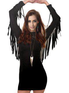 Tassels Stand Neck Bodycon Dress - Black Xl