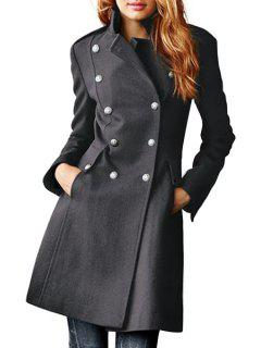 Lapel Double-Breasted Pocket Wool Coat - Gray Xl