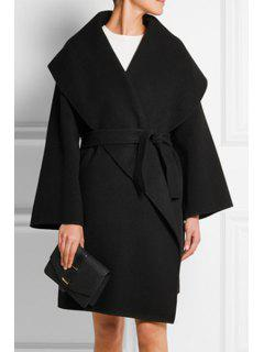 Large Lapel Self-Tie Belt Wrap Coat - Black L