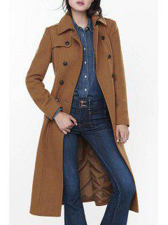 Long Sleeve Double-Breasted Wool Coat - Camel L
