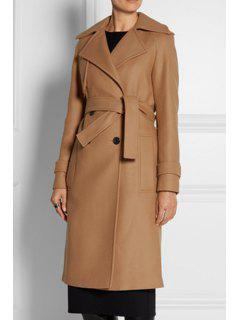 Long Sleeve Double-Breasted Camel Coat - Camel S