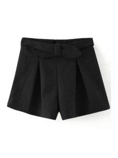 Solid Color Wide Leg Bowknot Shorts - Black L