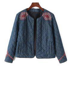 Argyle Embroidery Long Sleeve Jacket - Blue M