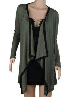 Plus Size Turn Down Collar Long Sleeve Cardigan - Green 5xl