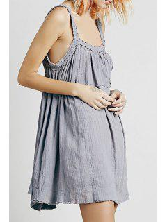 Solid Color Backless Spaghetti Straps Dress - Gray
