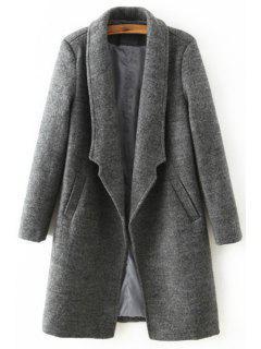 Solid Color Pocket Design Wool Coat - Deep Gray L