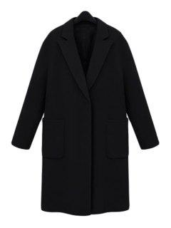 Pocket Lapel Long Sleeves Worsted Coat - Black 3xl