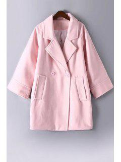 Pure Color Lapel Collar Long Sleeves Peacoat - Pink L
