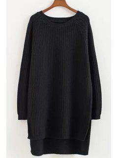 Round Neck High Low Hem Long Sweater - Black