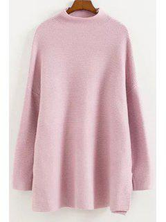 Half-Collar Dropped Shoulder Sweater - Pink