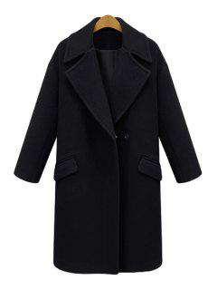 Solid Color Lapel Long Sleeve Worsted Coat - Black M