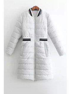 Spliced Stand Collar Long Sleeves Padded Coat - White M