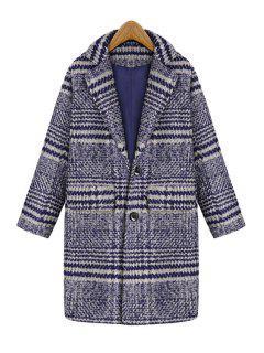 Stripes Lapel Collar Long Sleeve Coat - Blue S