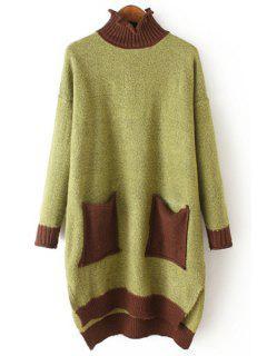 Turtle Neck Two Pockets Side Slit Sweater - Green