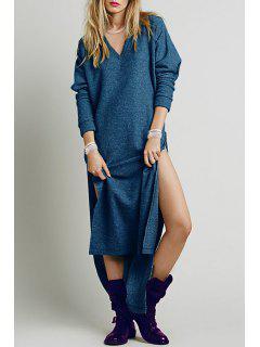 Solid Color High Slit V-Neck Sweater Dress - Blue Xl