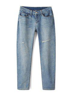 Bleach Wash Ripped Light Blue Jeans - Light Blue L